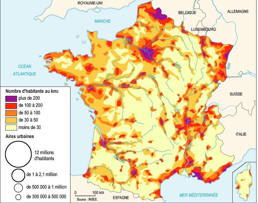 carte densité population france densité de population en France (avec images) | Géographie, France