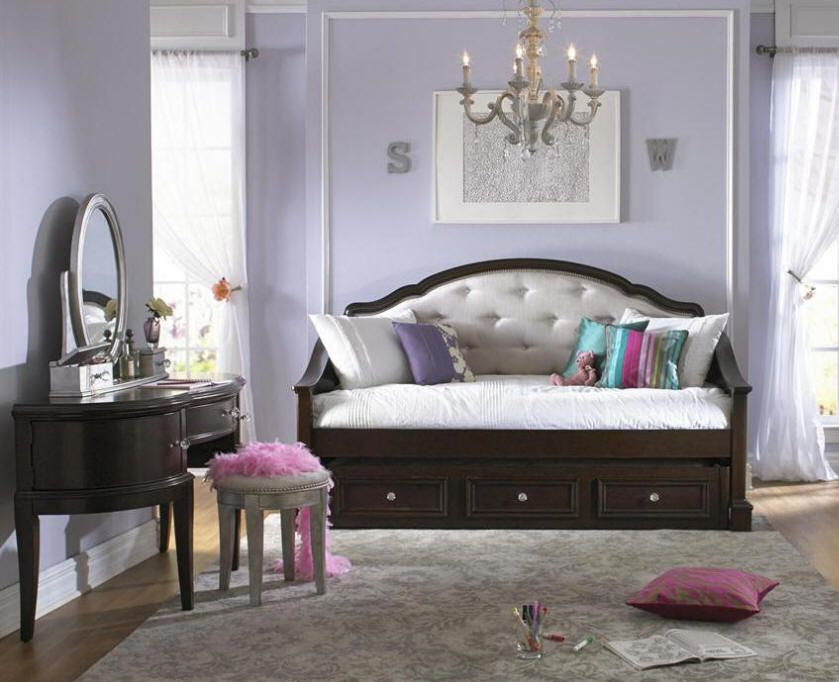 Upholstered White Daybed BERNADETTE TWIN SIZE UPHOLSTERED DAYBED Kids Bedroom Sets Bedroom