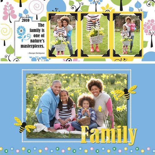 Cheerful Spring Scrapbook Layout Page Idea