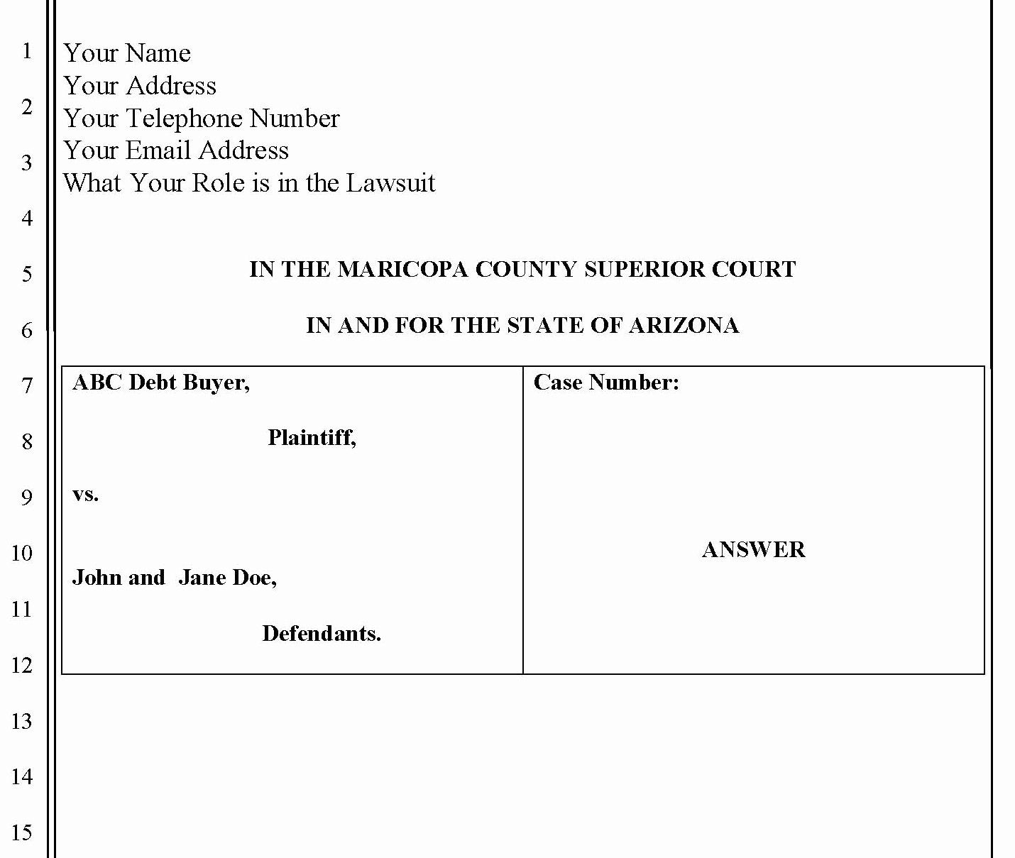 Answer To Civil Complaint Example Beautiful Collection How To File A Civil Plaint S Daily Printable Business Cards Weekly Calendar Template Answers
