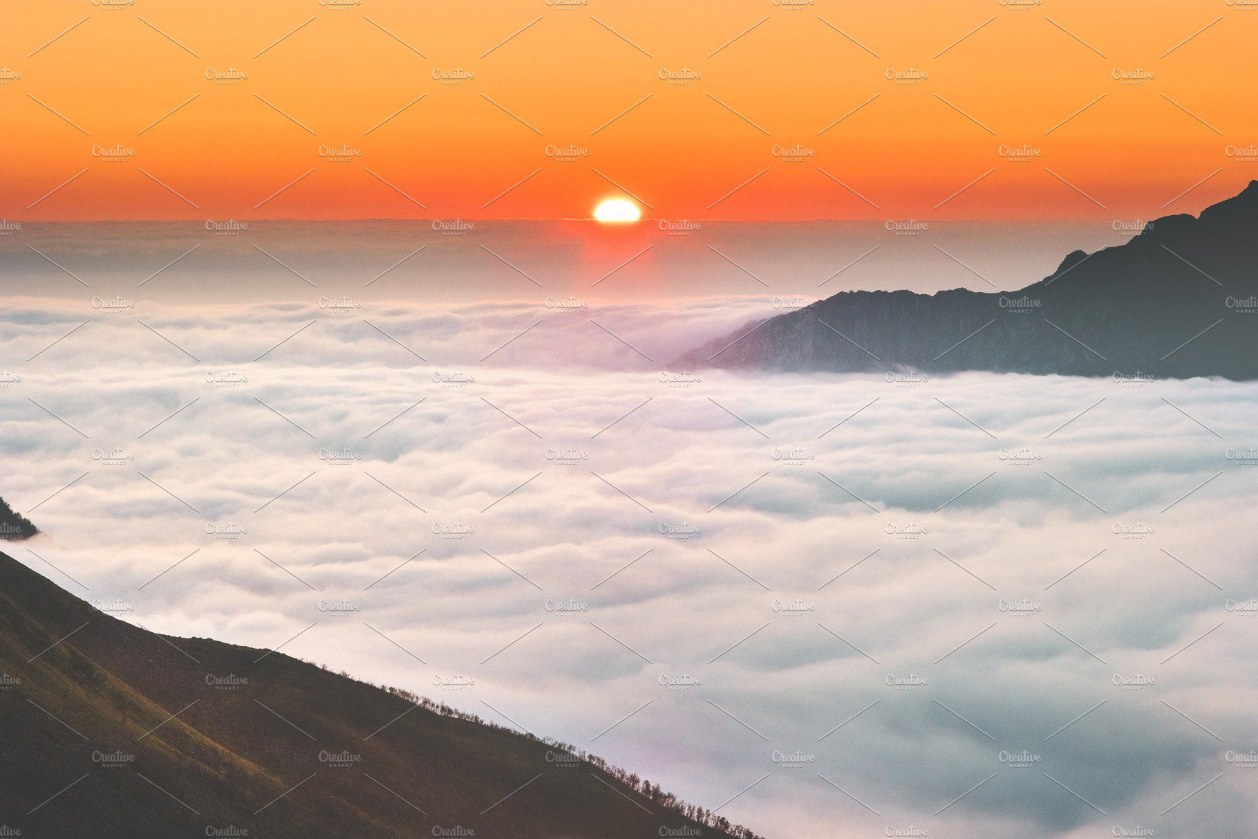 Sunrise Over Mountains Clouds Aerial Aerial Views Landscape Sunset Vacations Landscape Scenery