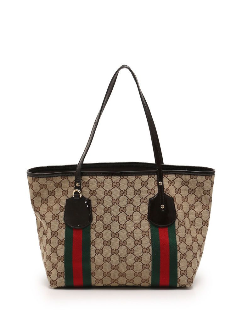 d8b16a0aa73 GUCCI GG canvas sherry line tote bag canvas enamel leather beige brown  green red  fashion  clothing  shoes  accessories  womensbagshandbags  ad  (ebay link)