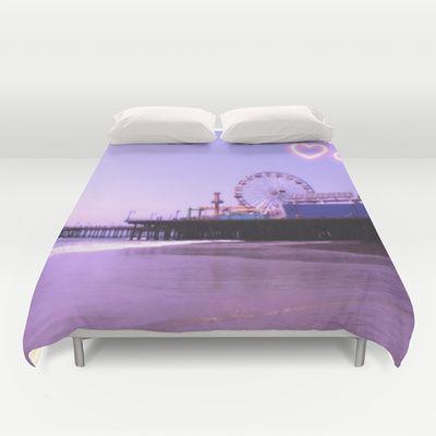 Santa Monica Pier Purple Hearts Duvet Cover by Christine aka stine1 - $99.00