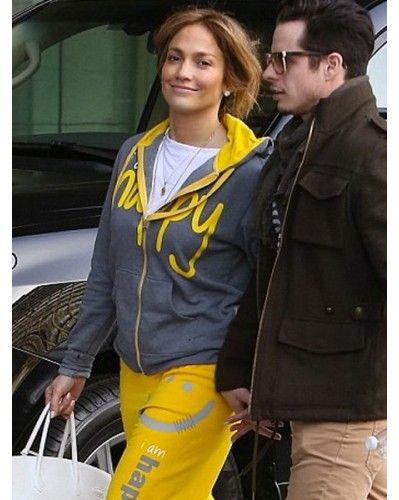 Jennifer Lopez Wearing Peace Love World I Am Happy Hoodie Jenniferlopez Happy Hoodie