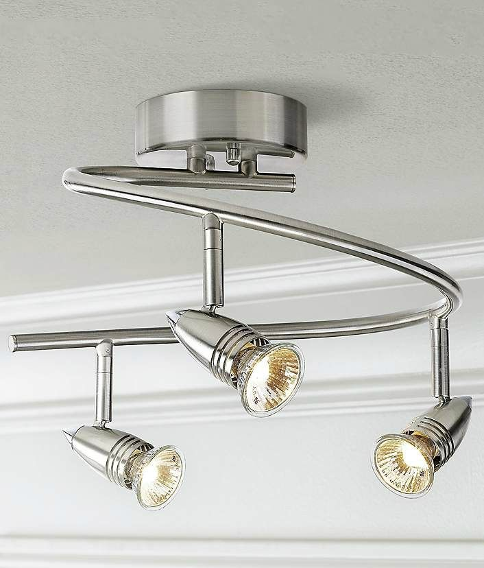 Pro track 3 light spiral ceiling light fixture ceiling lights contemporary satin nickel spiral ceiling light from pro track features three bullet lights that can mozeypictures Images