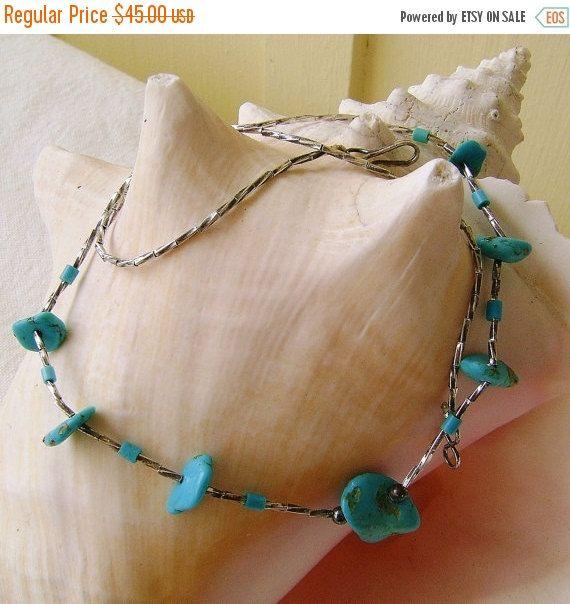 Vintage Turquoise  Necklace Liquid Silver by SilverFoxAntiques