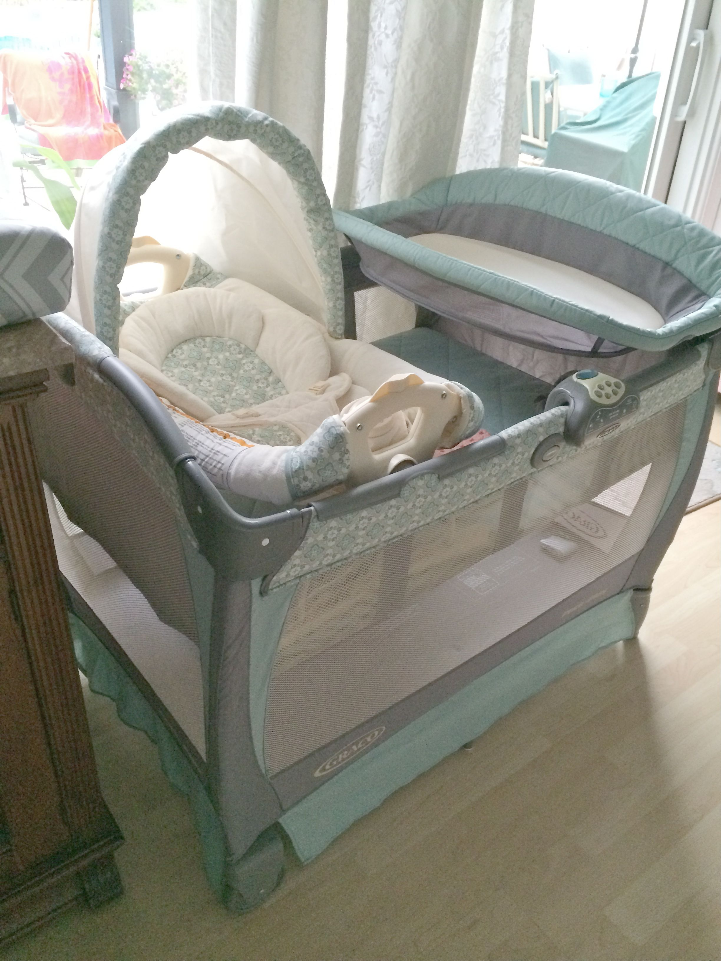 Graco Pack N Play Winslet Love The Turquoise And Gray