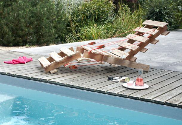 Houten Pallet Meubelen : Strandstoel inclusief katrolletjs gemaakt van pallets