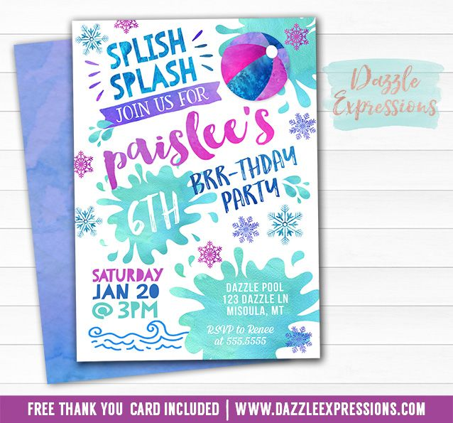 Printable Watercolor Winter Pool Party Birthday Invitation Indoor - birthday invitation swimming party