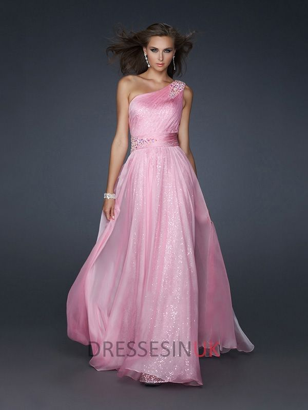 Chiffon A-line Beaded One Shoulder Pleated Sequined Floor Length ...