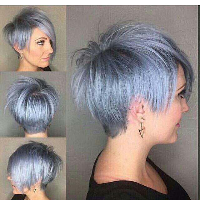 Silver blue pixie on emilyandersonstyling Long Pixie