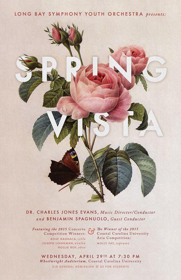 "A poster design for Long Bay Symphony Youth Orchestra's ""Spring Vista"" Performance."