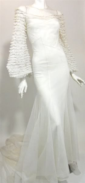 1930s white mesh netting bridal gown.   1930s Clothes - Evening ...