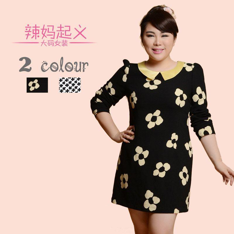 Nova chegada 2013 plus size flor todo-match básicos de uma peça vestido vestido mm womeng gordura