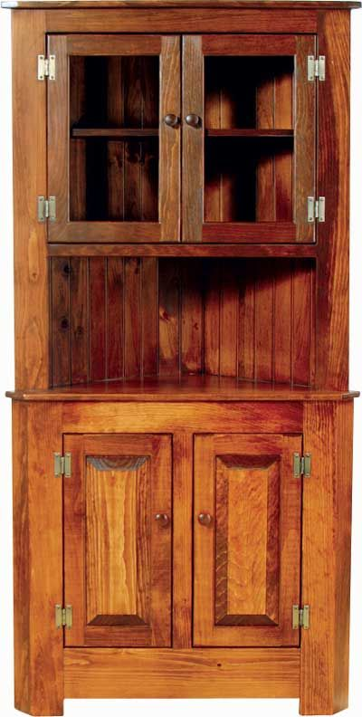 Almost Amish Extra Large Corner Cupboard With Glass Doors Glass Cabinet Doors Amish Furniture Cabinet