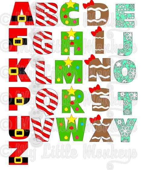 Christmas Alphabet.Christmas Alphabet Design Commercial Use Svg Cut File
