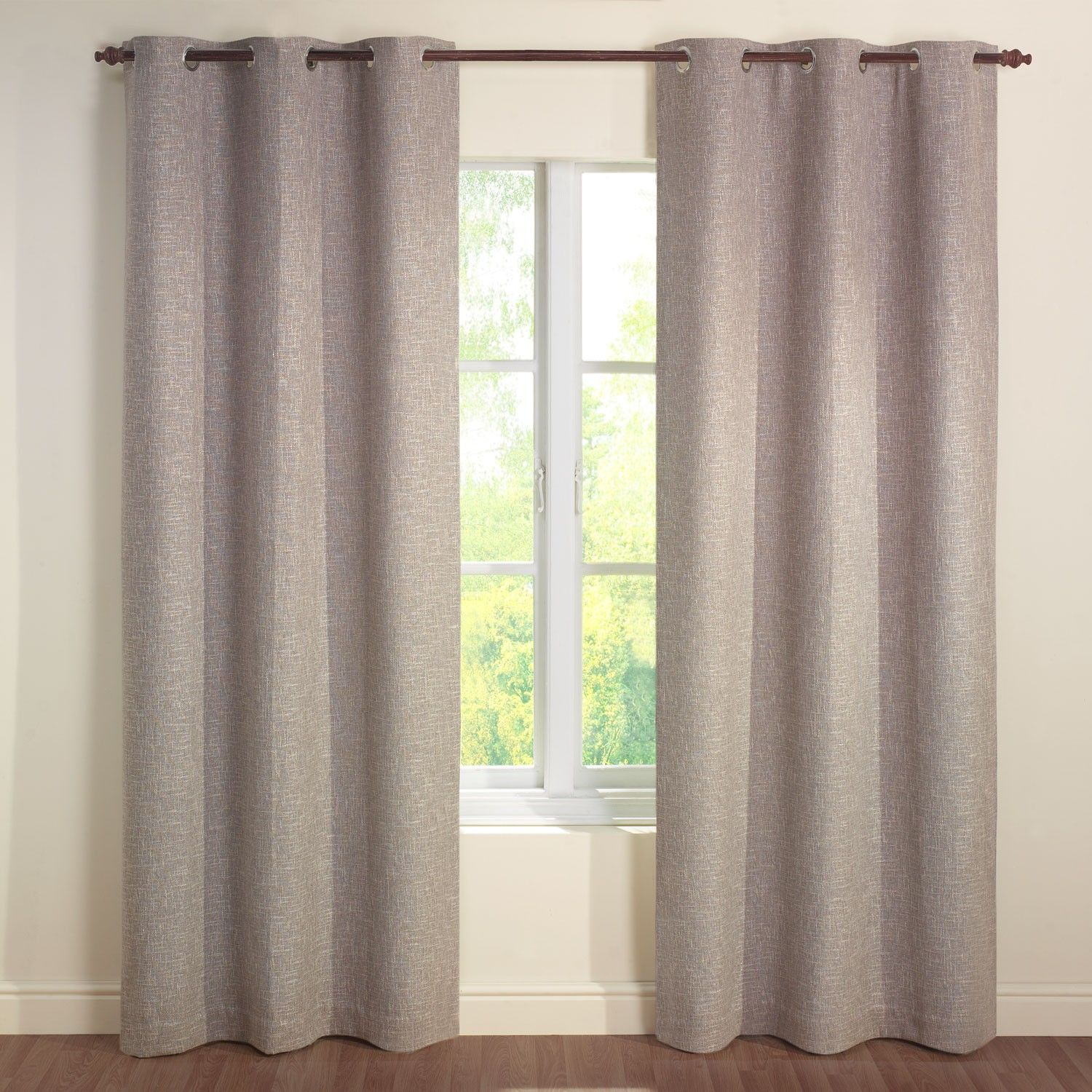 Tweed Mocha Luxury Jacquard Lined Eyelet Curtains Pair