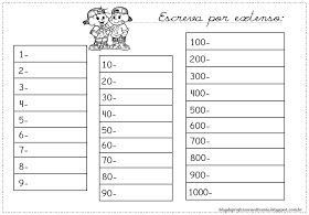 Numeros Para Escrever Por Extenso Atividades Para Imprimir Por