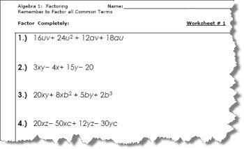 Bone Up on Your Factoring With These Algebra 1 Worksheets: Factoring ...