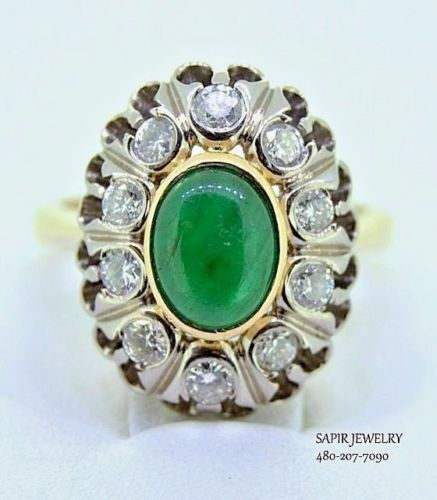 Vintage Ladies 14k Yellow Gold With 0 30 Carat Diamonds And 0 50ct Emerald Ring Emerald Ring Vintage Ladies