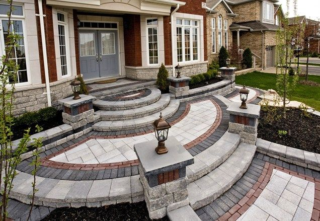 Paver Entryway Design Entryways Steps And Courtyard Ogs Landscape | House Entrance Steps Designs | Front Yard Stair | Semi Circle | Front Porch | Residential | Half Round