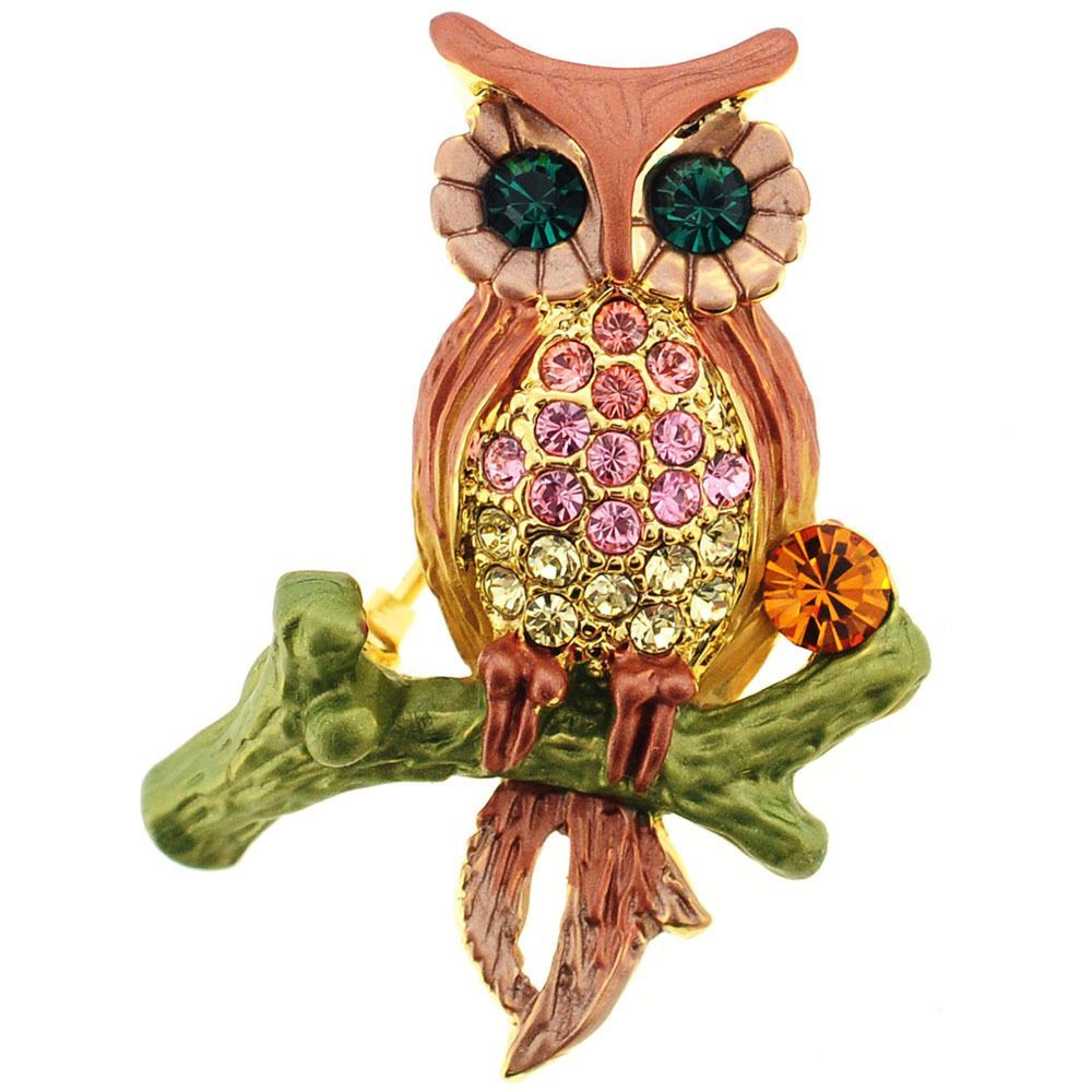 Brown Owl Cubic Zirconia Pin Brooch