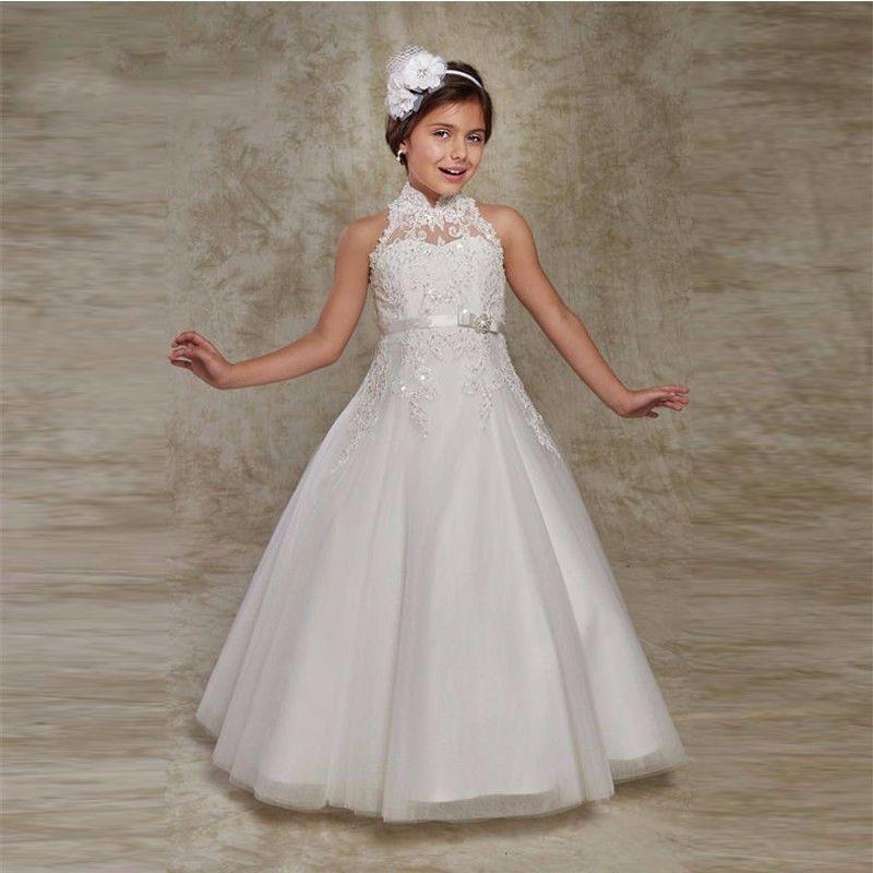 8873db9b4 Venta caliente Blanco Puffy Niña de las Flores Vestidos para Niñas vestido  longo Applique Moldeado Vestidos de Primera Comunión(China)