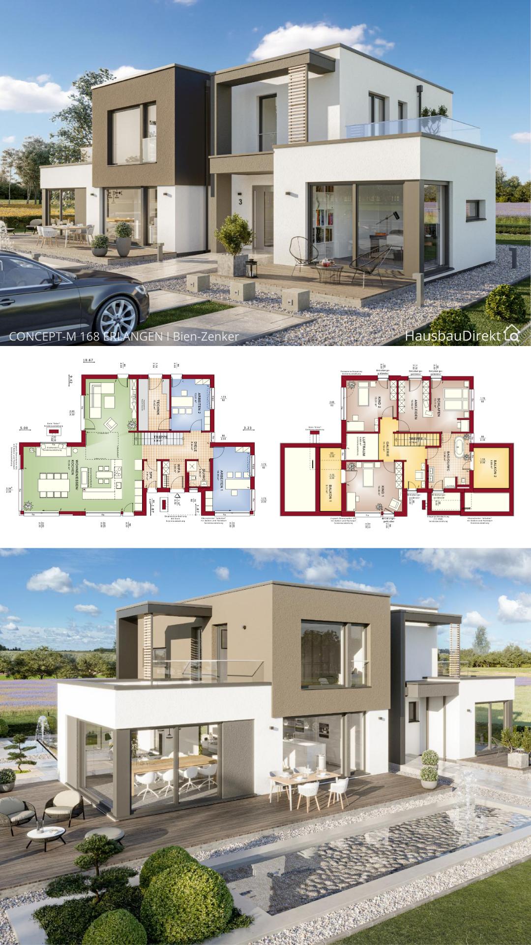 Einfamilienhaus modern im Bauhausstil mit Flachdach & Erker bauen offener Haus Grundriss 220 qm