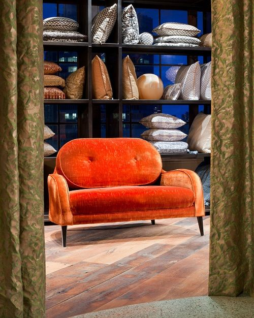 A sofa and pillows in the Fortuny Showroom, D&D Building, New York | Designers Collaborative
