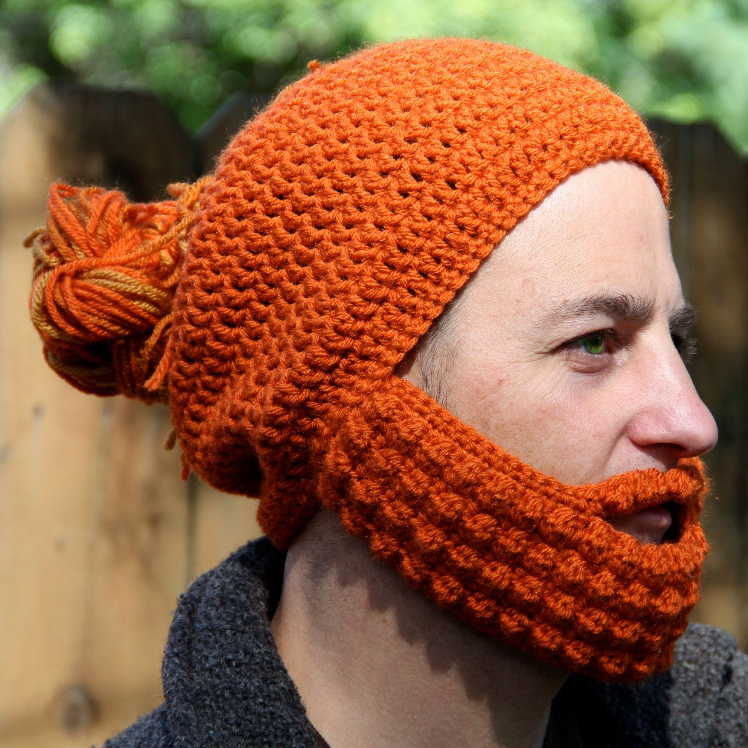 Crochet Hat with Beard, Man Bun Hat, The Portland, Unique gift for ...