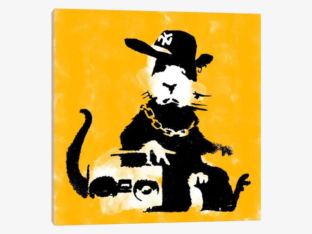 Ganster Rat Yellow by Banksy Canvas Print 37\