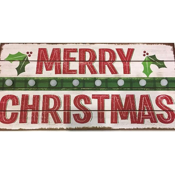 wooden merry christmas sign with lights only italian items