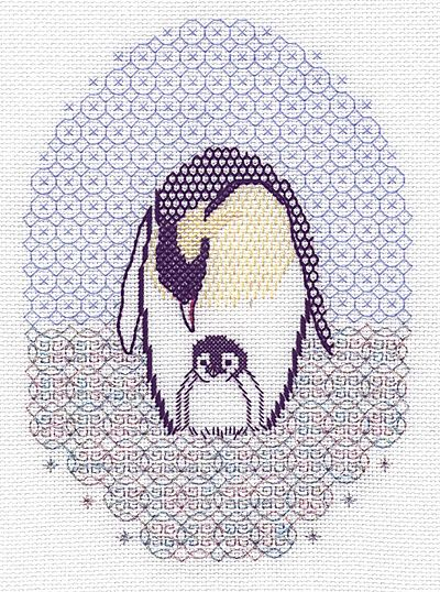 Emperor penguin blackwork kit by holbein embroideries