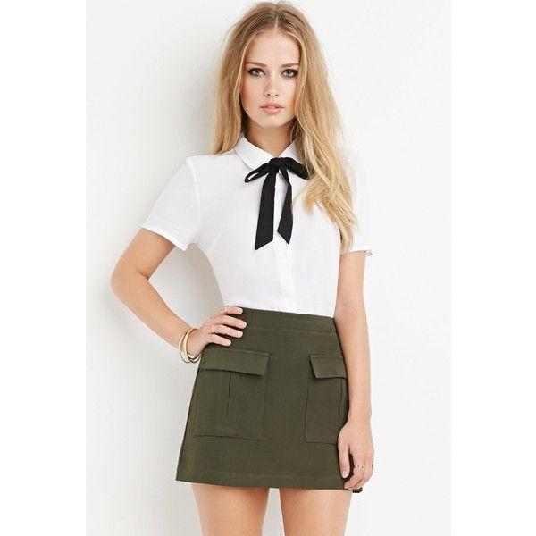 Forever 21 Front Flap Pocket Skirt (€16) ❤ liked on Polyvore featuring skirts, knee length full skirt, full length white skirt, women skirts, white knee length skirt и forever 21 skirts