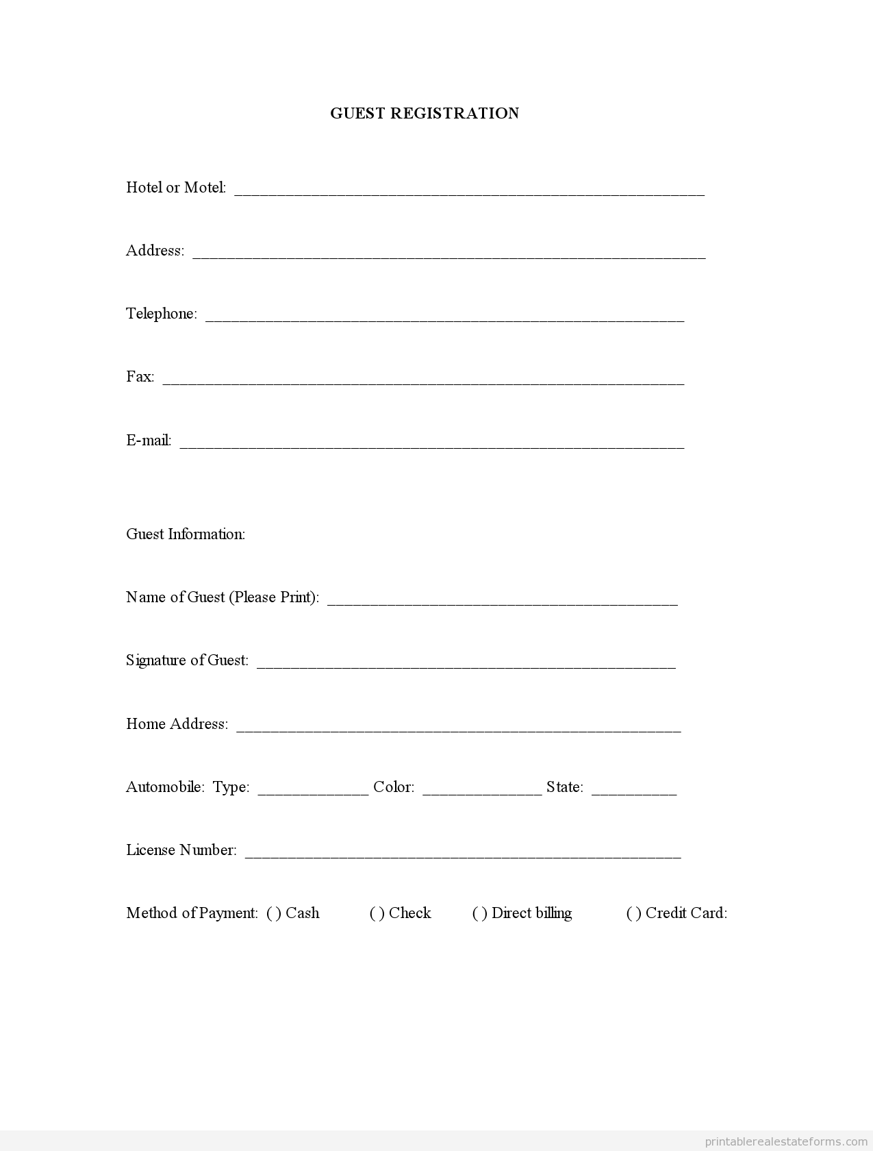 sample printable guest registration form printable real estate