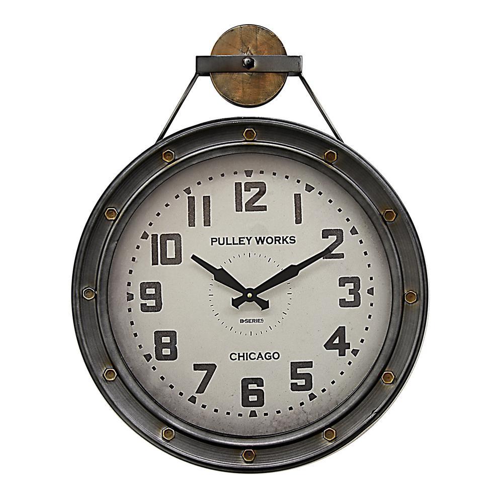Three Hands 21 In X 3 In Metal Wall Clock In Silver Metallics Wall Clock Oversized Wall Clock Metal Wall Clock