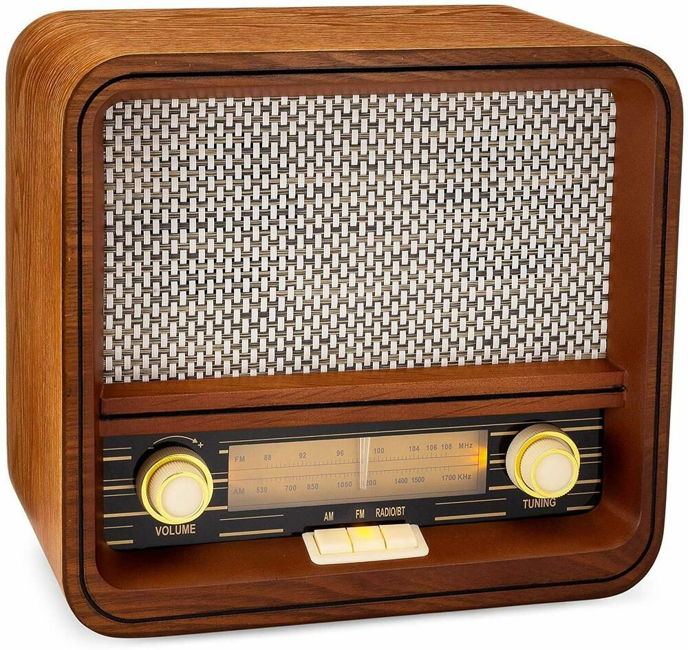 Vintage Fm Radio Retro Bluetooth Speaker Wooden Collectors Gift