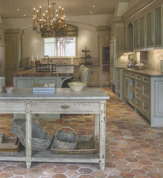 Farmhouse Brick Flooring Tile : Cabinets french kitchen indeed decor