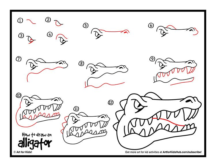 free how to draw a crocodile printable - How To Draw Printables