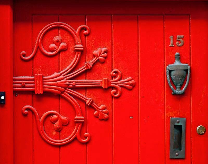 Red door in Ireland