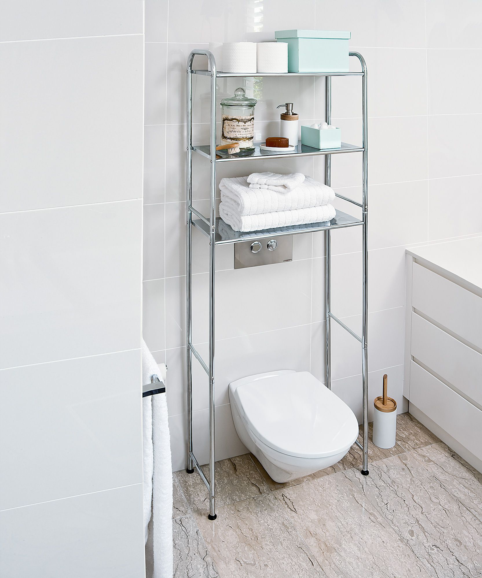 Over the Toilet Chrome Storage Rack ($89.95). Available at Howards ...