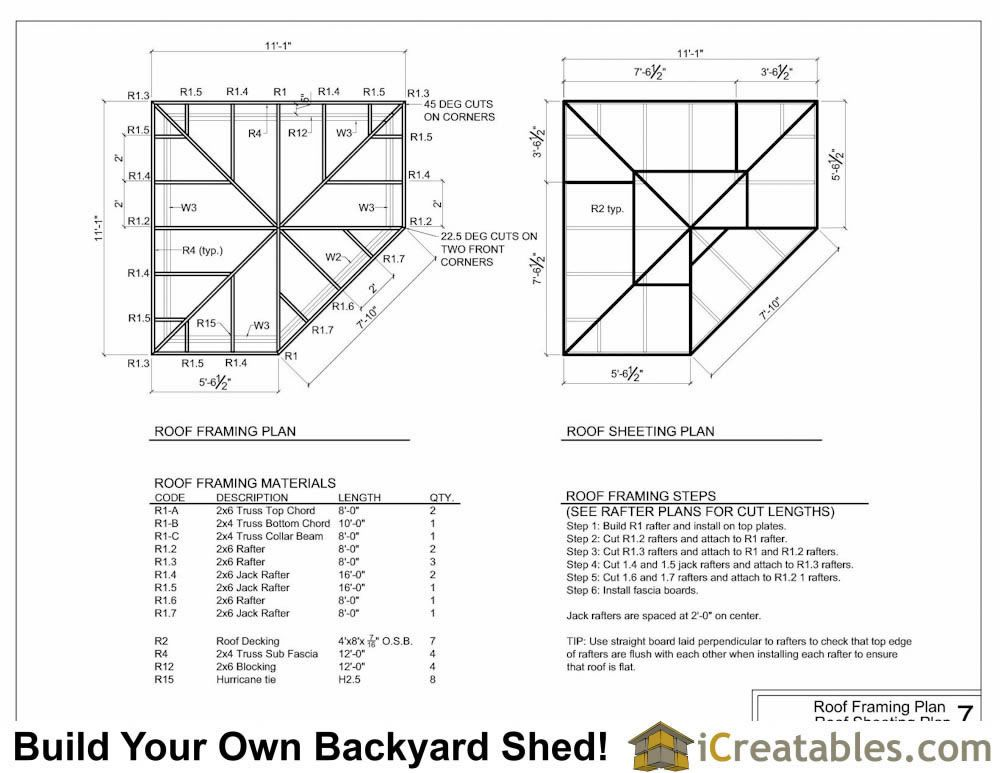 5 Sided Corner Shed Roof Framing Plans In 2019