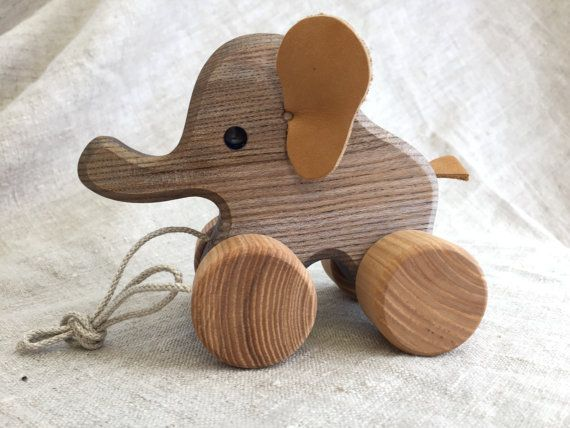 Wooden Toys For Toddlers : Big wooden toy elephant pull along birthday gift