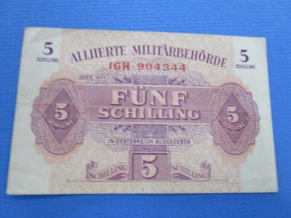 1944 Austria War Time Military Issue 5 Schilling Note Military