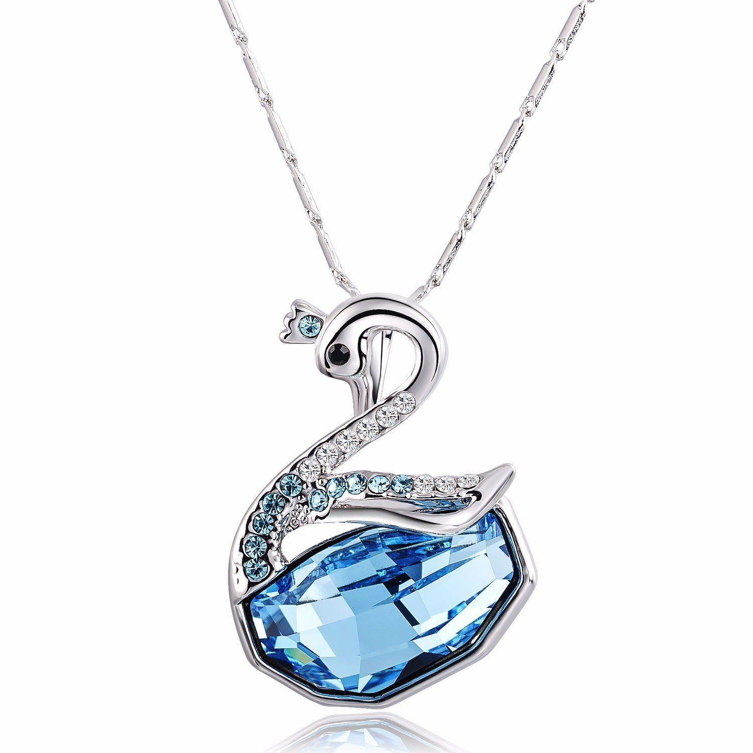 Stunning Silver Gold Blue Swan Pendant Women White Topaz Crystal Chain Necklace