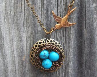 Sparrow and Bird Nest Locket Necklace