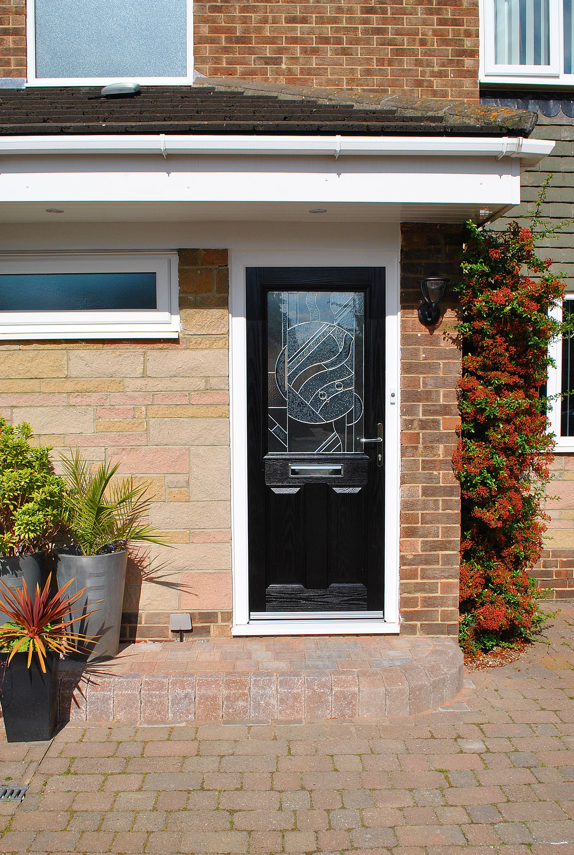 Stunning Black, Parama Composite Door, With Zinc Art Abstract Glass Design  And High Quality