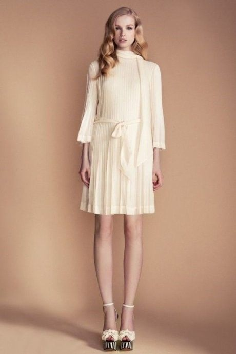 Elegance in Simplicity - ivory dress with delicate pleats; ladylike style