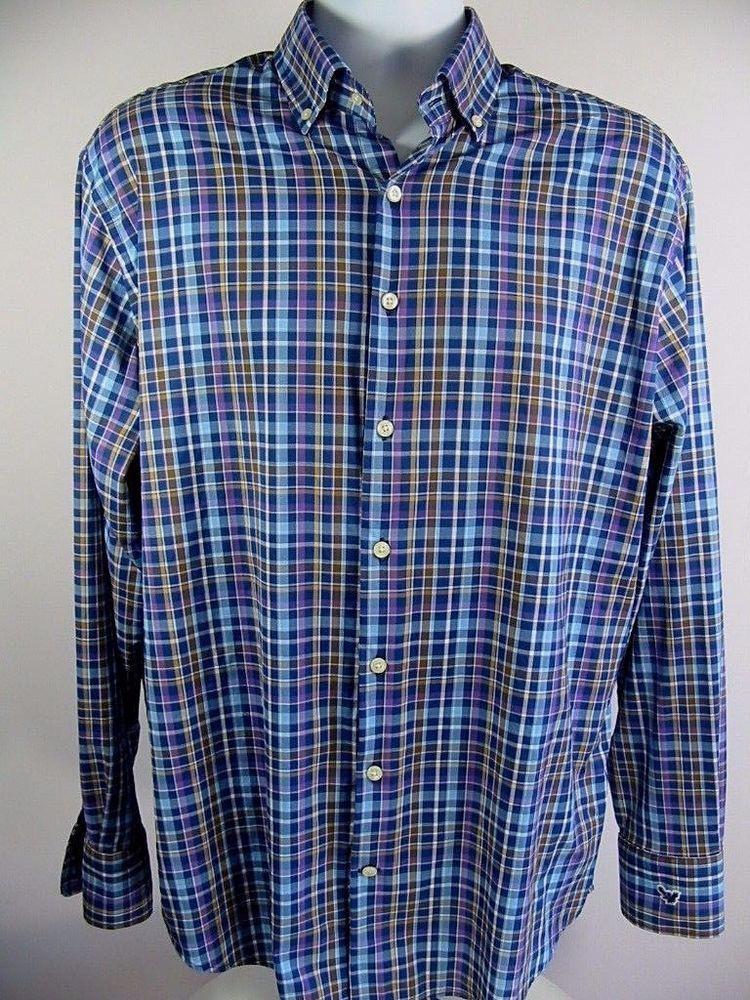 ff8724018e8a Peter Millar Mens Dress Shirt Summer Comfort Button Down Plaid Check Large  L  PeterMillar  SummerComfort
