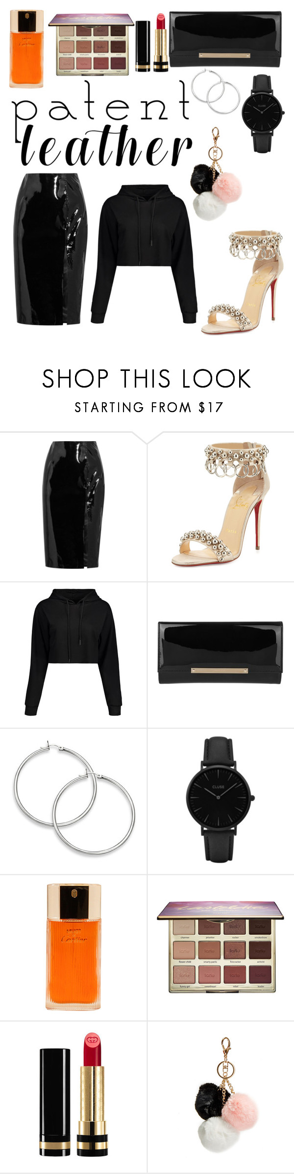 """""""Pat-in that leather"""" by tatianabilly ❤ liked on Polyvore featuring Topshop Unique, Christian Louboutin, Jimmy Choo, CLUSE, Cartier, tarte, Gucci and GUESS"""